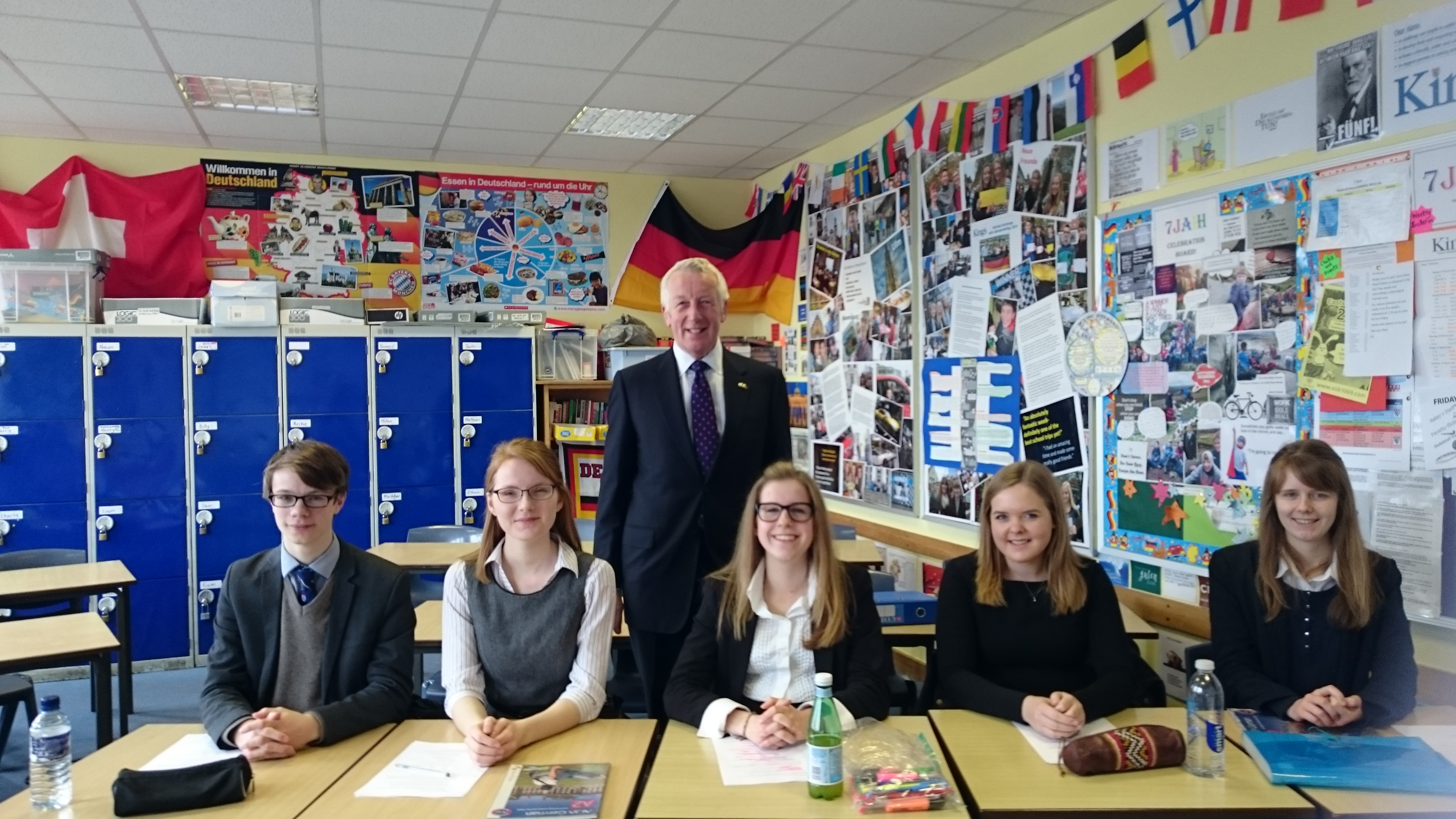 Paul Stocker and pupils from King's School Macclesfield